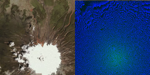 Satellite image of the Cotopaxi volcano and its heightmap